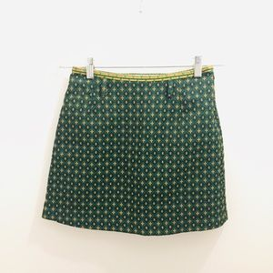 Urban Outfitters Green Brocade Skirt Small gold